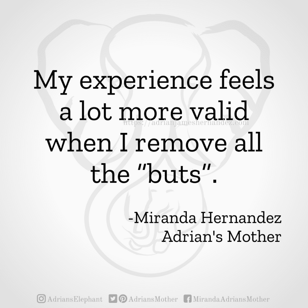 """My experience feels a lot more valid when I remove all the """"buts"""". -Miranda Hernandez, Adrian's Mother"""
