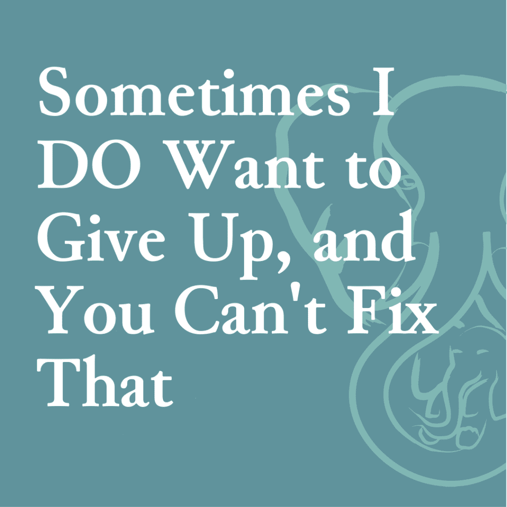 Sometimes I DO Want to Give Up, and You Can't Fix That