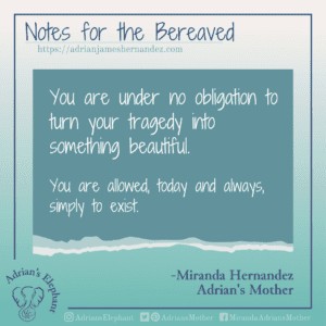 Notes for the Bereaved -  You are under no obligation to turn your tragedy into something beautiful. You are allowed, todays and always, simply to exist. -Miranda Hernandez, Adrian's Mother