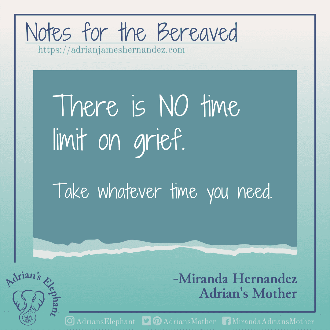 Notes for the Bereaved -  There is NO time limit on grief. Take whatever time you need. -Miranda Hernandez, Adrian's Mother