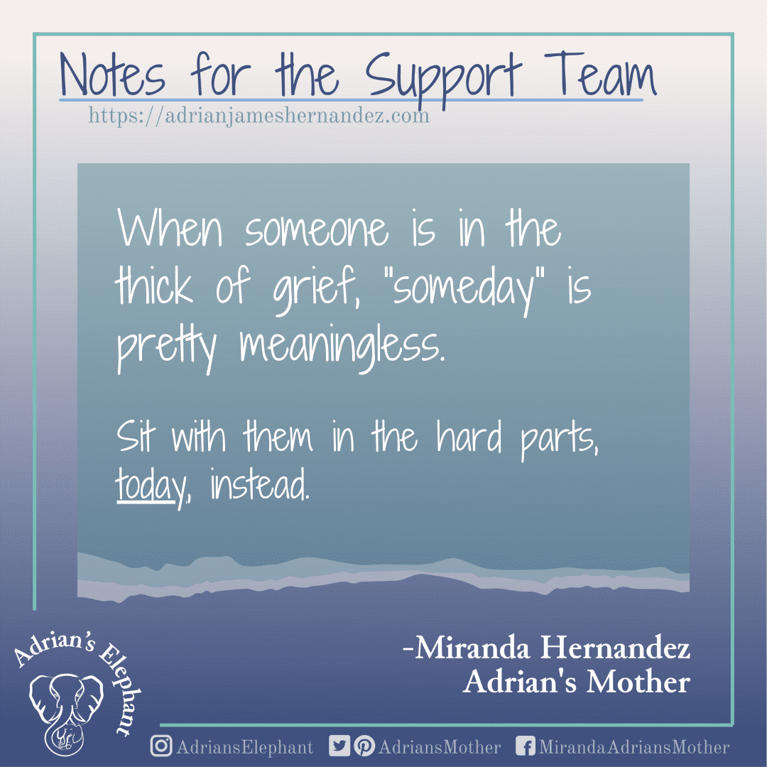 """Notes for the Support Team -  When someone is in the thick of grief, """"someday"""" is pretty meaningless. Sit with them in the hard parts, today, instead. -Miranda Hernandez, Adrian's Mother"""