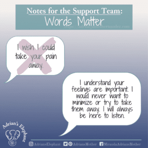 Notes for the Support Team - Words Matter: Original statement: I wish I could take your pain away.  Rewritten: I understand your feelings are important. I would never want to minimize or try to take them away. I will always be here to listen. -Miranda Hernandez, Adrian's Mother