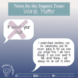 Notes for the Support Team - Words Matter: Original statement: It wasn't your fault. Rewritten: I understand emotions can be complicated, and I'm never going to tell you how you should feel. I am here though, if you ever want to talk about things. I will always be an ear to listen. -Miranda Hernandez, Adrian's Mother