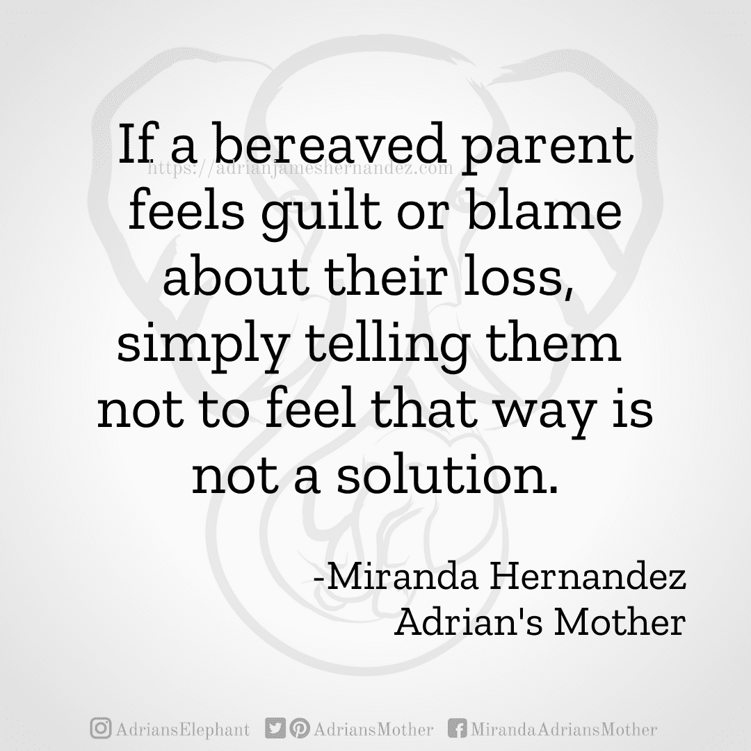 If a bereaved parent feels guilt or blame about their loss, simply telling them not to feel that way is not a solution. -Miranda Hernandez, Adrian's Mother