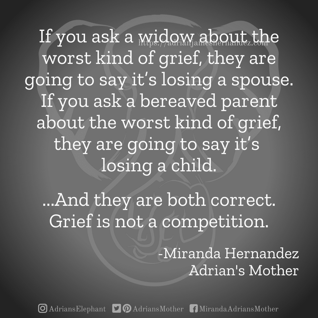 If you ask a widow about the worst kind of grief, they are going to say it's losing a spouse. If you ask a bereaved parent about the worst kind of grief, they are going to say it's losing a child. ...And they are both correct. Grief is not a competition. -Miranda Hernandez, Adrian's Mother
