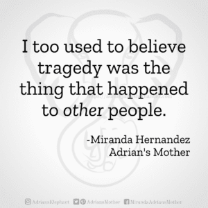 I too used to believe tragedy was the thing that happened to other people. -Miranda Hernandez, Adrian's Mother