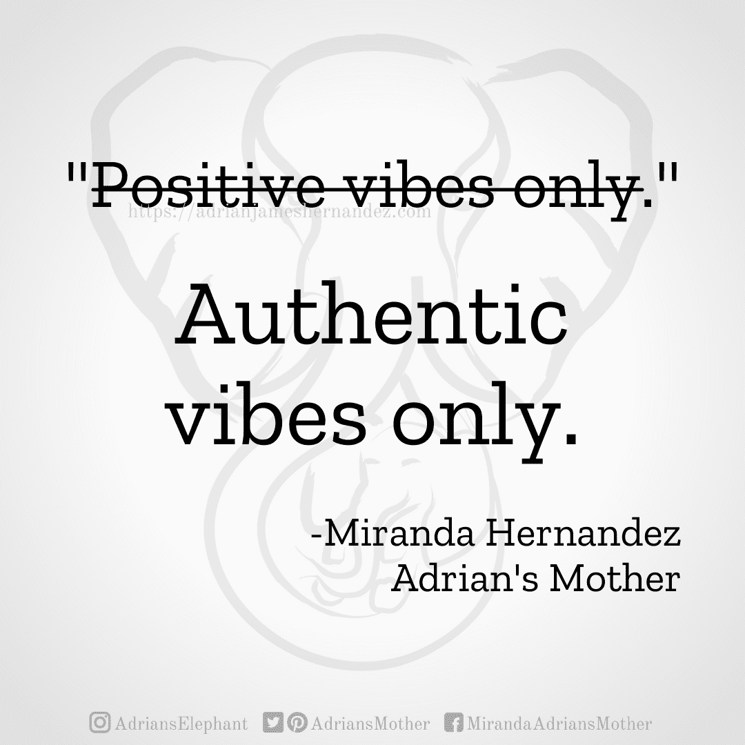 """Original statement: """"Positive vibes only."""" Rewritten: Authentic vibes only. -Miranda Hernandez, Adrian's Mother"""