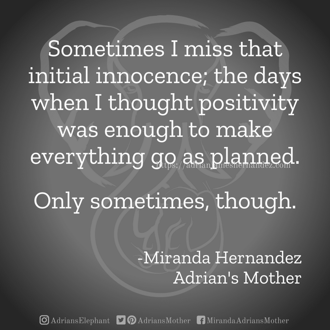 Sometimes I miss that initial innocence; the days when I thought positivity was enough to make everything go as planned. Only sometimes, though. -Miranda Hernandez, Adrian's Mother