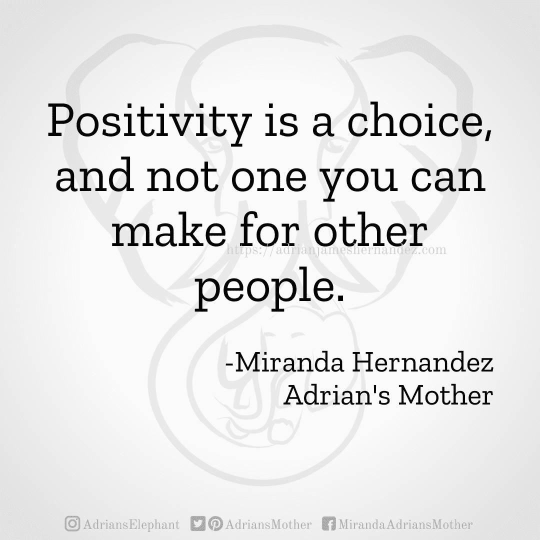 Positivity is a choice, and not one you can make for other people. -Miranda Hernandez, Adrian's Mother