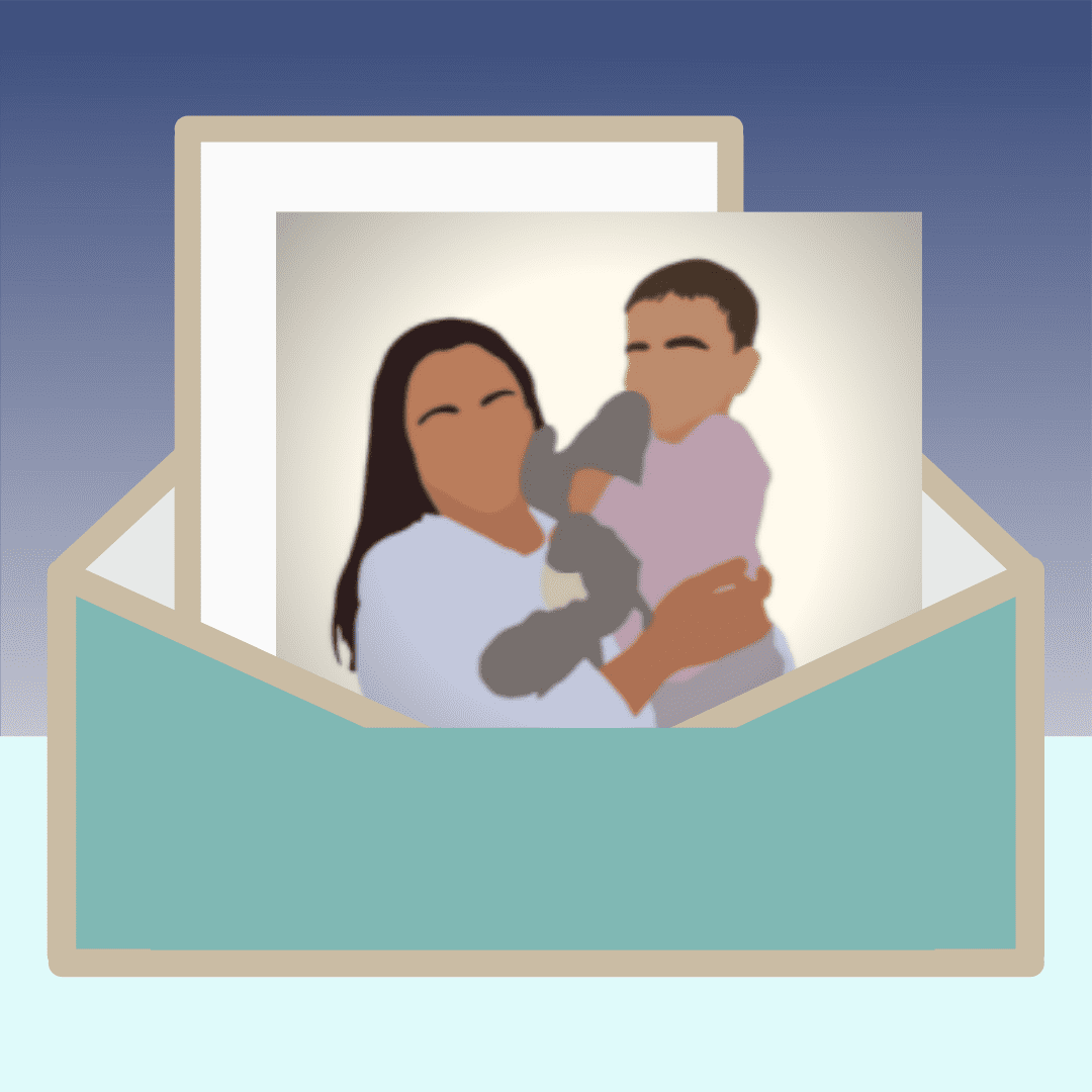 Graphic image of a green envelope holding a letter and a graphic photo of a mother holding a toddler and a stuffed elephant. The mother is wearing a long sleeved white shirt and has black hair. The toddler is wearing a light pink shirt and has medium brown hair. The background of the image is a blue gradient on top and a light blue box on the bottom. Graphic photo created by Megan Johnson; full image created in Canva