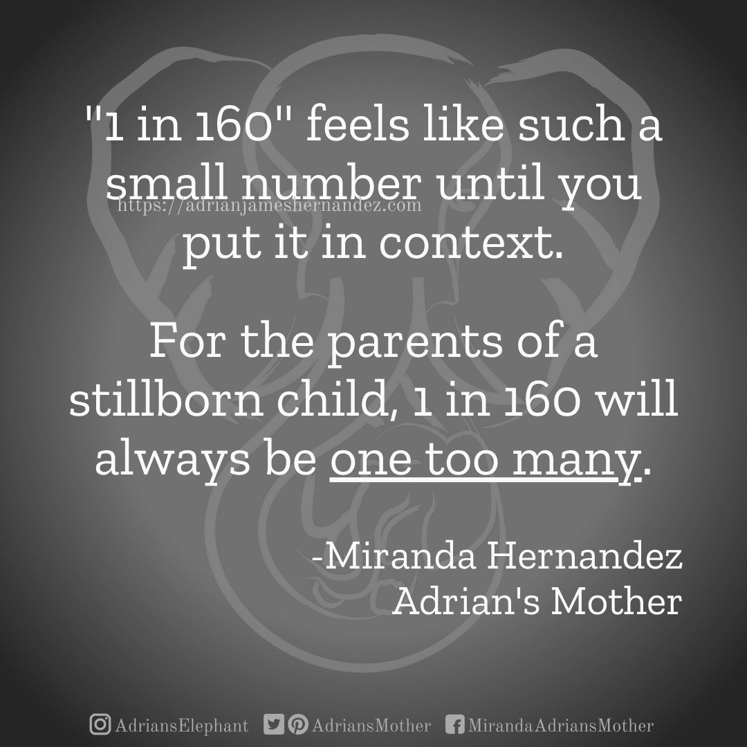 """""""1 in 160"""" feels like such a small number until you put it in context. For the parents of a stillborn child, 1 in 160 will always be one too many. -Miranda Hernandez, Adrian's Mother"""