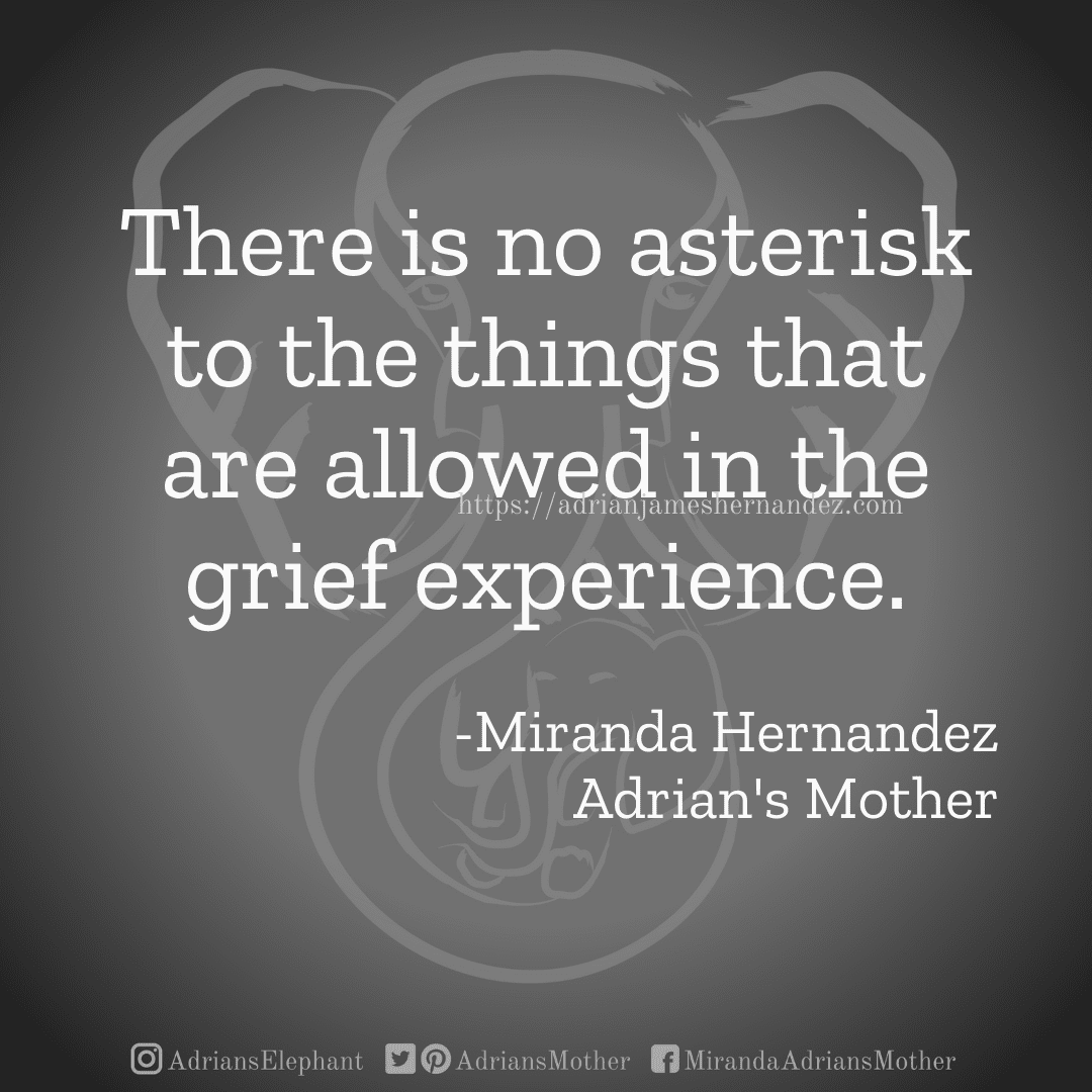 There is no asterisk to the things that are allowed in the grief experience. -Miranda Hernandez, Adrian's Mother