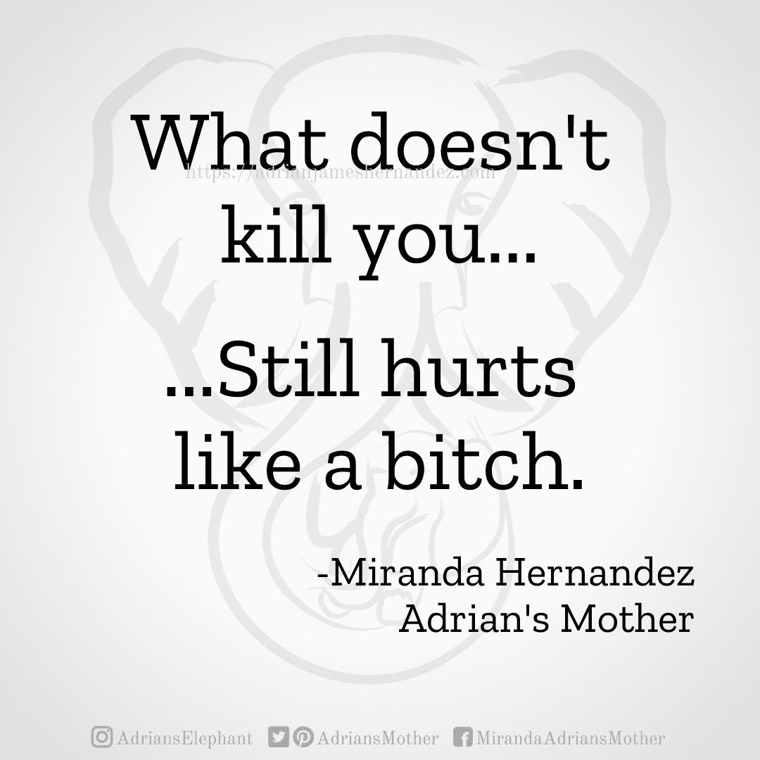 What doesn't kill you... ...Still hurts like a bitch. -Miranda Hernandez, Adrian's Mother