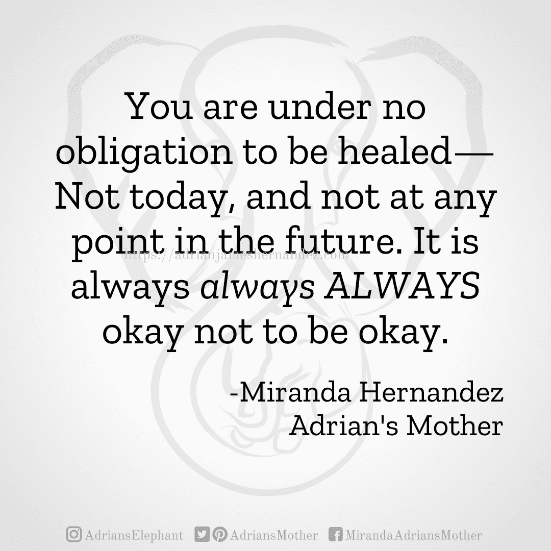 You are under no obligation to be healed—Not today, and not at any point in the future. It is always always ALWAYS okay not to be okay. -Miranda Hernandez, Adrian's Mother