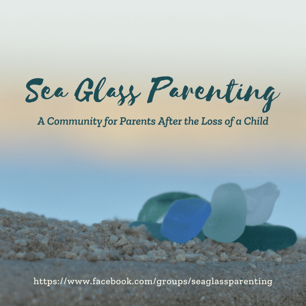 """Close-up of blue and green sea glass sitting on pebbly sand at sunset. The words """"Sea Glass Parenting, A Community for Parents after the Loss of the Child"""" are written above in dark green text. The address of the Facebook group is written below in white text: https://www.facebook.com/groups/seaglassparenting"""